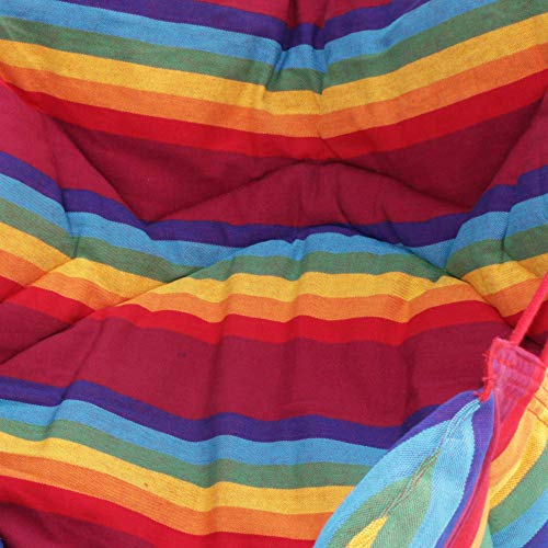 NOVICA Rainbow Striped 1 Person Brazilian Cotton Hammock Swing Chair with Eucalyptus Wood Spreader Bar