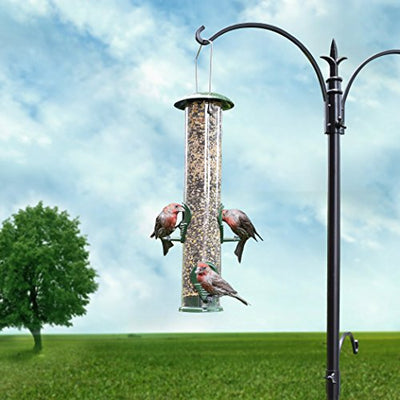 GrayBunny GB-6847E Classic Metal Tube Feeder, 2-Pack, Premium Metal Outdoor Birdfeeder With Steel Perches & Steel Hanger, Solid Hard Tube, Chew-Proof & Lasts A Lifetime, Weatherproof & Water Resistant