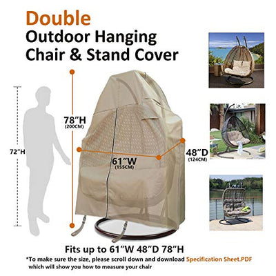 Flexiyard Patio Egg Chair Cover with Adjustable X-Lock System and Zipper