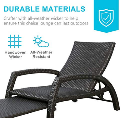 Outdoor Wicker Convertible Chaise Lounge Patio Chair