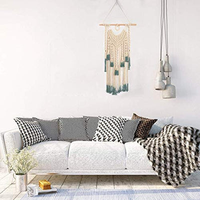 Bohemian Macrame Wall Hanging Green and Beige