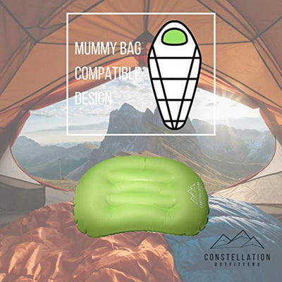 Constellation Outfitters Ultralight Inflatable Camping & Backpacking Pillow - No Leak Valve - Air Pillow for Camp Travel Hiking Hammock & Beach Pillow (Green)