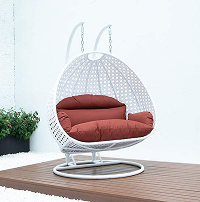 LeisureMod White Wicker 2 Person Double Hanging Swing Egg Chairs Patio Indoor Outdoor Use Lounge Chair (Dark Orange)