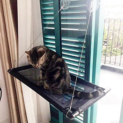 Cat Window Perch Bed Cot - Blinbling Kitty Window Seat Suction Cups Space Saving, Providing all Around Sunbath and Natural Scenery for Cats Weighted up to 33lbs