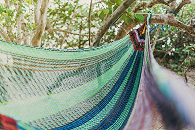 MAYAPAN Hammock - Handmade by Mayan Artisans (Fair Trade) - Multicolor - 100% Nylon - Double Woven Thread