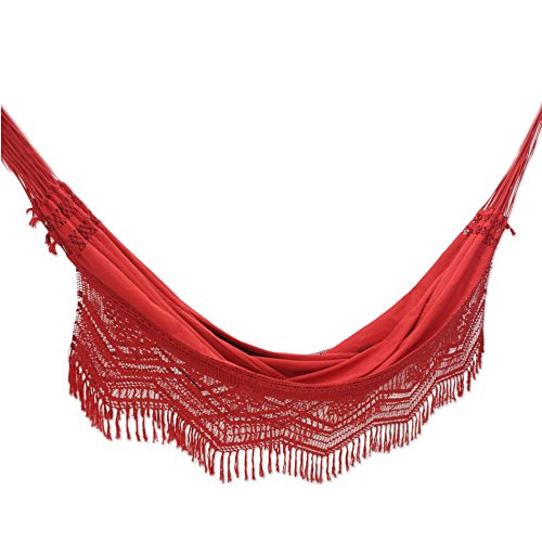 NOVICA Cotton Hammock, Red Rio Sensation