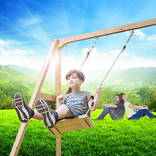 Wooden Hanging Swings Seat with Height Adjustable Pp Rope