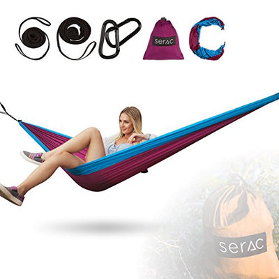 Serac [Durable Hammock & Strap Bundle] Classic Portable Single Camping Hammock with Suspension System - Perfect for The Backpack, Lightweight Travel and Camping (Wildflower Purple/Teal)