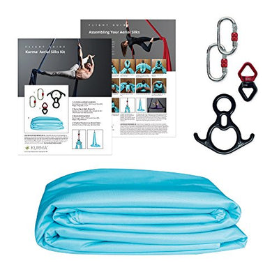 Aerial Silks Equipment for Acrobatic Flying Dance, Includes all Hardware, Fabric and Guide