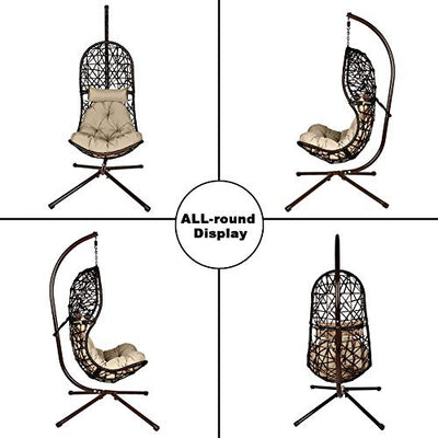 LETATA Egg Chair with Stand Indoor Outdoor Patio Wicker Hanging Swing Chair with UV Resistant Tufted Cushion Hammock Porch Chaise Lounge Chair Steel Frame