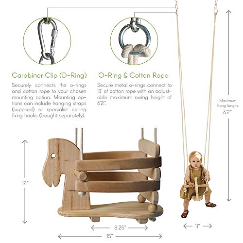 Wooden Horse Toddler Swing Set - Baby Swing Outdoor & Indoor