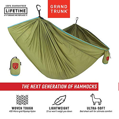 Grand Trunk TrunkTech Double Hammock: Green/Aqua