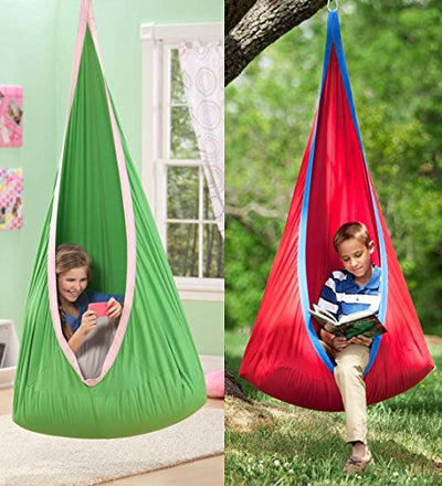 Red Hugglepod Hanging Cocoon Chair with Removable Cushion