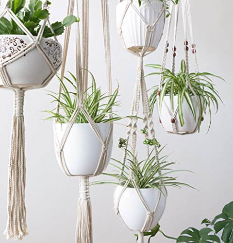 Mkono Macrame Plant Hangers 5 Pack Different Tiers Indoor Hanging Planters Set Flower Pots Holder Stand Boho Home Decor