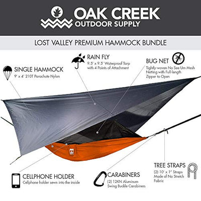 Oak Creek Camping Hammock with Mosquito Net, Rain Fly, Tree Straps and Sack.