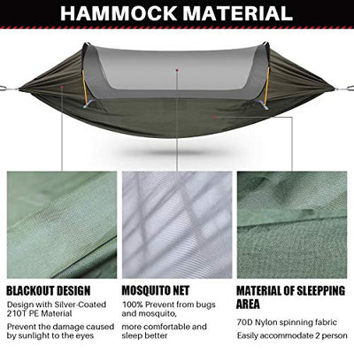 ETROL Hammock, Upgrade Double & Single Camping Hammock with Mosquito Net