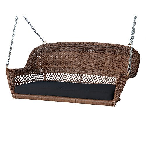 Hand Woven Honey Brown Resin Wicker Outdoor Porch Swing with Black Cushion