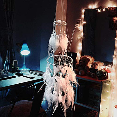 Dremisland Double Circle White Feather Dream Catcher with Mobile LED Fairy Lights Wall Hanging Ornaments Ceiling Decor for Bedroom Decor Wedding Decorations Boho Chic Party Nursery Decor
