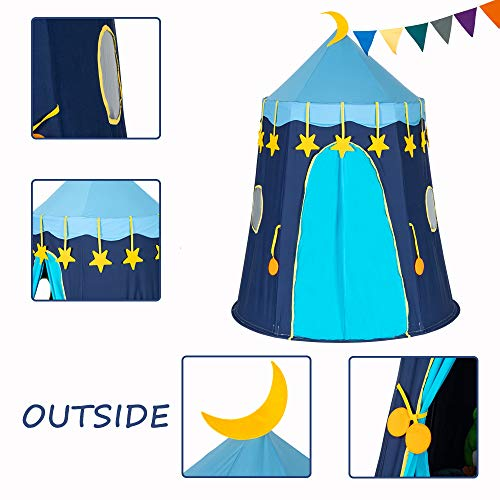 JOYMOR Kids Play Tent Cotton Pop Up Teepee Tents Princess Castle Playhouse for Child Great for Camping Indoor Outdoor (DeepSkyBlue)