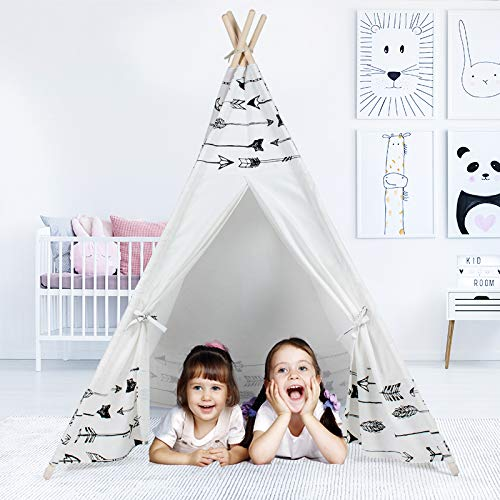 JUNHE Kids Teepee Tent for Kids with Carry Case Kids Foldable Play Tent for Girl or Boy Indoor and Outdoor
