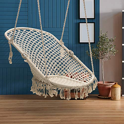 Sorbus Lounge Chair Macrame Swing: Cream
