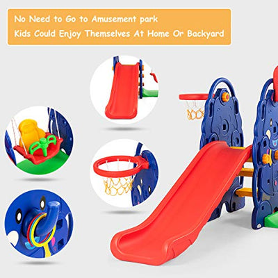 Costzon Toddler Climber and Swing Set, 4 in 1 Climber Slide Playset w/Basketball Hoop, Toss, Easy Climb Stairs, Kids Playset for Both Indoors & Backyard(4-in-1 Slide & Swing Set)