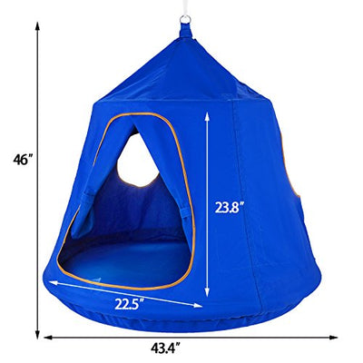 OrangeA Hanging Tree Tent Blue Hanging Tree Tent for Kids with Led Lights: Blue
