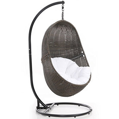 Zuri Furniture Modern Bali Espresso Basket Swing Chair White Cushion