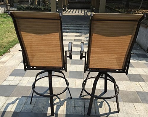 Aluminum Patio Swivel Padded Sling Bar Height Stools with Back