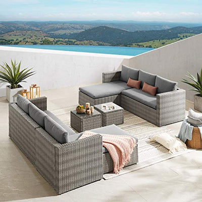 Volans 3 Piece Modular Outdoor Wicker Rattan Patio Furniture Set, Patio Sectional Conversation Sofa Set with Cushions and Coffee Table, Gray