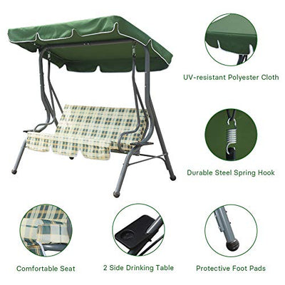 Zupapa 3-Person Steel Porch Canopy Swing Seat with Stand