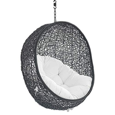 Modway EEI-3636-BLK-WHI Encase Swing Outdoor Patio Lounge Chair Without Stand, Black White
