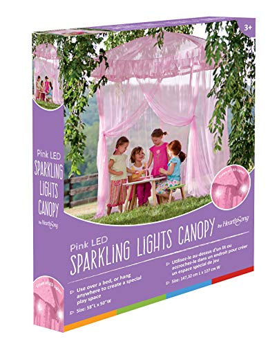 HearthSong Sparkling Lights Hanging Bed Canopy Play Tent with Interior LED