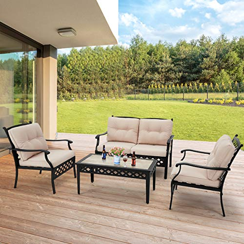 AECOJOY 4 Piece Patio Conversation Set Metal Garden Conversation Set with Cushions,Outdoor Metal Furniture Set with 1 Outdoor Loveseat,2 Single Sofa,1 Coffee Table for Garden,Deck,Beige&Black