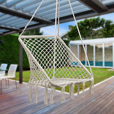 Sorbus Macrame Square Swing: Cream