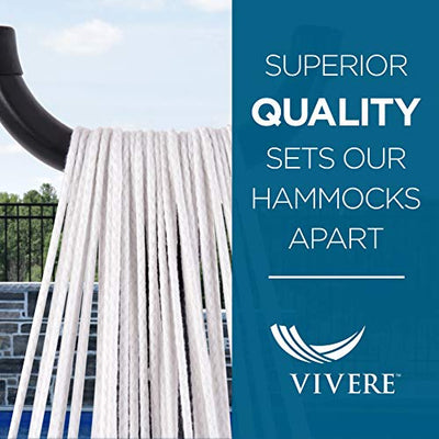 Vivere Double Polyester Hammock with Space Saving Steel Stand, Royal Blue (450 lb Capacity - Premium Carry Bag Included)