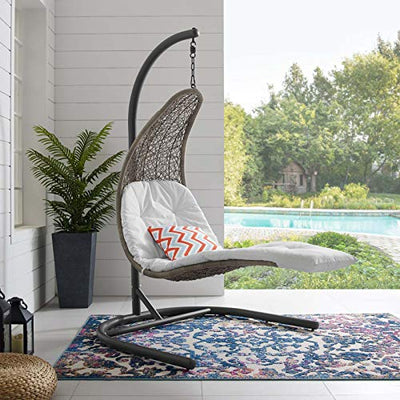Modway Landscape Wicker Rattan Outdoor Patio Porch Hanging Chair