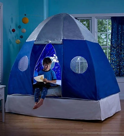 HearthSong Galactic Space Bed Tent Playhouse - Electric Interior Starburst Led Light with Ul Connection - 2 Doors & 4 Windows - Fits Twin Size Mattress, 3.25' x 6' x 5' H, Blue & Silver