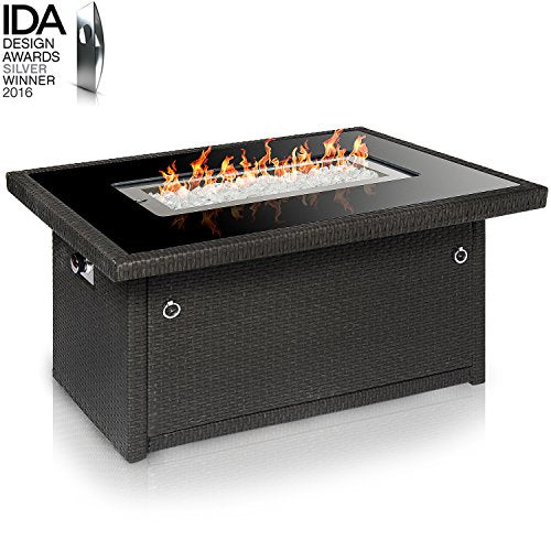 Outdoor Propane Gas Fire Pit Table: Slate Grey
