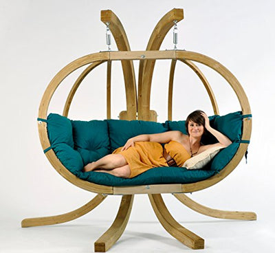 Globo Royal Hanging Chair: Green with Soft Cushion