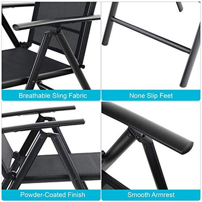 2 Set Patio Folding Sling Chair with Armrest