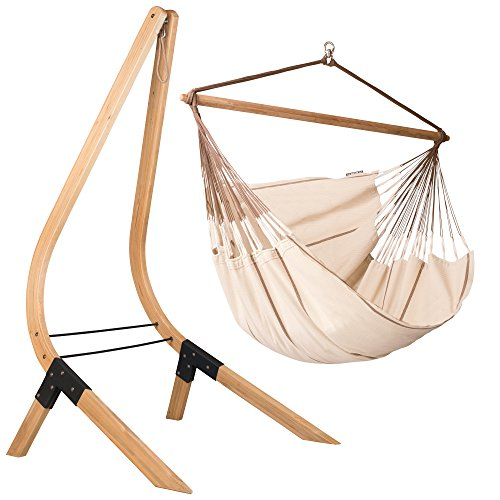 Organic Cotton Lounger Swing Hammock Chair with Spruce Stand