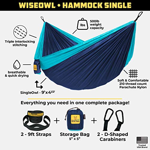 Wise Owl Outfitters Camping Hammock: Blue