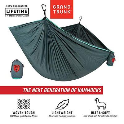 Grand Trunk Trunk Tech Double Hammock: Teal/Turquoise