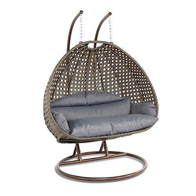 Island Gale Luxury 2 Person Wicker Swing Chair ((2 Person) X-Large-Plus, Latte Rattan/Charcoal Cushion)