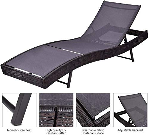 Outdoor Patio Rattan Wicker Adjustable Pool Chaise Lounge Chair, Brown