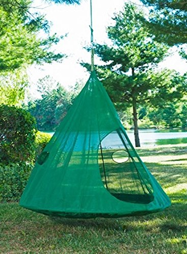 Flower House Teardrop Hanging Hammock Chair: Dark Green