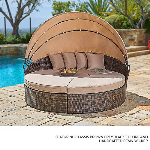 Outdoor Patio Round Daybed with Retractable Canopy: Brown