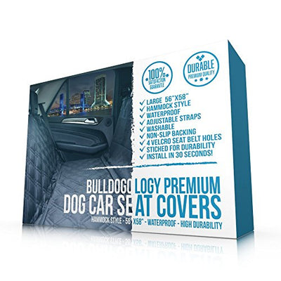 Bulldogology Premium Dog Car Seat Covers - Heavy Duty Durable Quality for Cars, Trucks, Vans, and SUVs - Hammock Style, Non-Slip, Adjustable Straps, and Machine Washable (Large, Black)