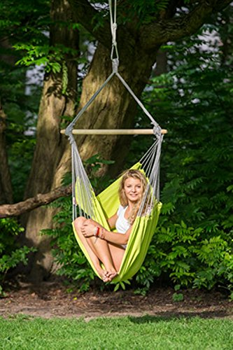 "Byer of Maine Panama Hanging Hammock Chair by, Indoors and Outdoors, EllTex Cotton/Polyester Blend Fabric, Kiwi, 58"" L X 39"" W, Holds up to 240lbs"